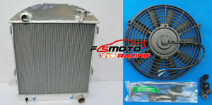 3 Row For Ford Model T Bucket Chevy Engine All Aluminum Radiator Fan 1924 1927
