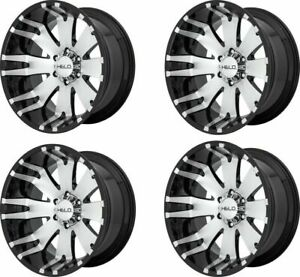 Set 4 20 Helo He917 20x10 Black Machined 6x135 Wheels 18mm Lifted Truck Rims