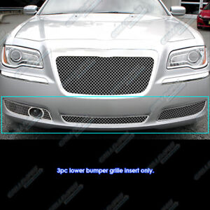 Fits 2011 2014 Chrysler 300 300c Bumper Stainless Steel Mesh Grille Grill Combo