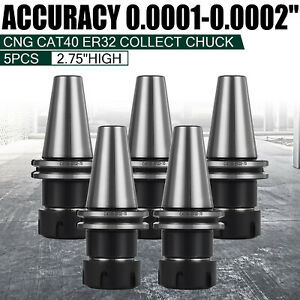 5pc Er32 Collet Set Cat40 Er32 Chuck Collet Holder Tool For Milling Machine