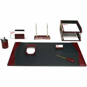 10 Piece Contemporary Leather Desk Set Red