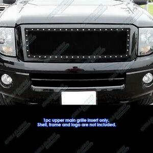 Fits 2007 2014 Ford Expedition Upper Stainless Black Mesh Rivet Studs Grille