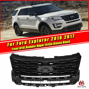 Front Grill Bumper Upper Grille For Ford Explorer 2016 2017 Glossy Black