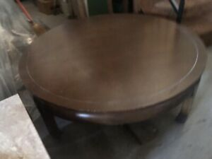 Vintage Round Coffee Table Chinese Wood Table Mid Century Antique Solid Heavy