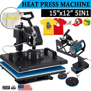 5 In 1 Heat Press Machine Digital Transfer Sublimation T Shirt Hat Plate Cap Mug