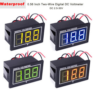 4pcs Digital Voltmeter 0 56 Inch Waterproof And Dustproof Two wires Dc 2 5 30v
