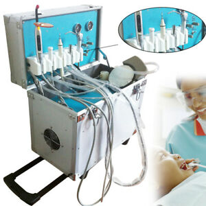 Dental Portable Delivery Unit W Air Compressor Rolling Case 2hole curing Light