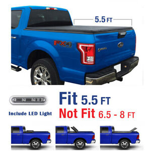 New 2015 2019 Ford F 150 5 5 Bed Tri Fold Tonneau Cover With Led Light