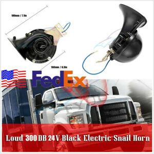 24v 300db Car Train Boat Black Electric Snail Horn Air Horn Super Loud Universal