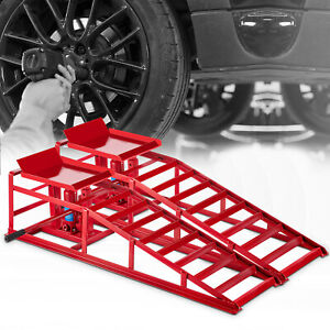 Hydraulic Car Rampshydraulic Vertical Ramps 5t 11000lbs Low Profile 1 Pair Red