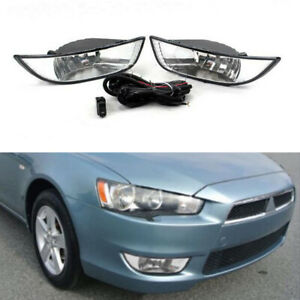 Pair Front Bumper Fog Lights Lamp For Mitsubishi Lancer Ex 2007 2008 2009 2010