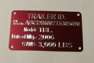 Engraved Red Trailer Id Data Plate Tag Vin Plate