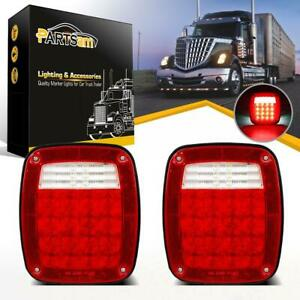 2pcs For Jeep 38 Led Stop Turn Tail Lights W License Lamp Semi Truck Stud Mount