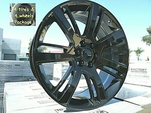 24 Escalade A S Tires Wheels Rims Gloss Black Fits Silverado Tahoe Suburban