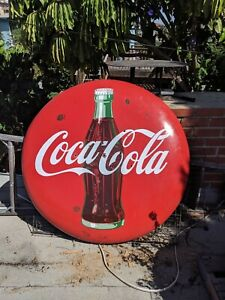 VINTAGE ADVERTISING PORCELAIN COCA COLA COKE BUTTON SIGN 48