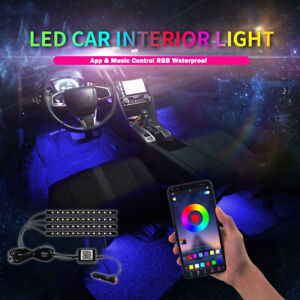 4pcs Rgb Led Light Strips Bluetooth App Control Car Interior Atmosphere Lamp 12v Fits More Than One Vehicle