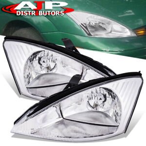 Chrome Clear Replacement Head Light Headlamp Lh Rh Pair For 2000 2004 Ford Focus