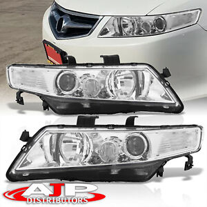 Replacement Chrome Housing Clear Headlights Lamps Pair For 2004 2008 Acura Tsx