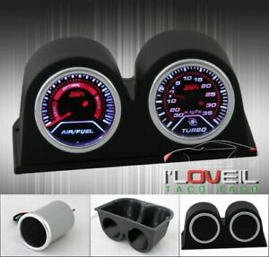 Jdm Vip Air Fuel Ratio Rich Lean Turbo Boost Psi Gauge Dual Pods Holder Kits