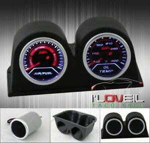 Jdm Vip Air Fuel Ratio Lean Rich Oil Temp Gauge Dual Pods Dash Board Case