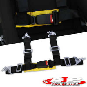 2 Jdm Black Yellow 4 Point Harness Racing Seat Belt Quick Snap Eye Bolt Buckle
