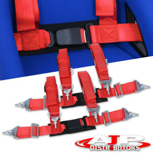 Universal Jdm 4pt 4 Point Nylon Harness Safety Buckle Seat Belts Pair Red