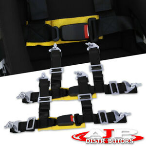 2x 4pt Racing 2 Seat Belt Harness Strap Quick Snap Buckle Latch Gold Strap