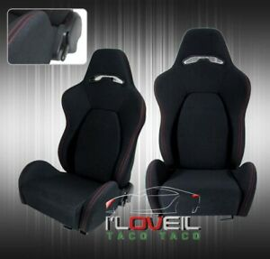 2x Fully Reclinable Racing Bucket Seats Universal Slider Rails Black W Red Stich