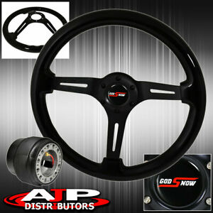 Deep Dish Steering Wheel Black Wood Black Center Hub Adapter For 84 89 Accord