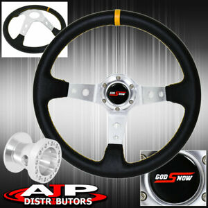 For 96 00 Civic Deep Dish Black Steering Wheel Silver Center Yellow Stitching