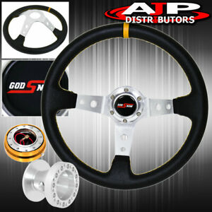 For 96 00 Civic Deep Dish Black Steering Wheel Gold Quick Release Adapter