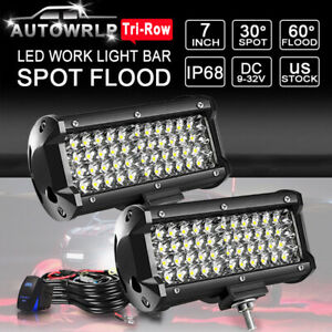 7 480w 4pcs Led Work Light Bar Spot Flood Off road Suv Atv Truck 4x4wd Rzr