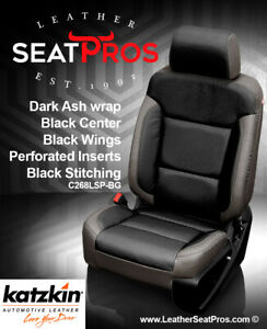 Katzkin Leather Seat Covers 14 18 Chevrolet Silverado Crew Double Dark Ash Black