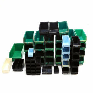 mixed Lot Of 58 Lewis Systems Stackable Storage Bins Various Sizes