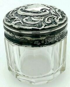 C1899 Thomas Jones Watson Sterling Silver Repousse Cut Crystal Small Dresser Jar