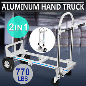 2 In 1 Aluminum Hand Truck Convertible Folding Dolly Platform Cart 770lbs