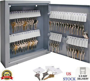 60 Key Storage Safe Cabinet Lock Box Wall Mount Holder Organizer Rack Security