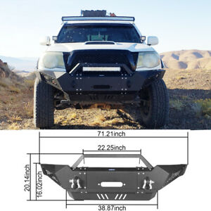 Front Bumper Guard W Winch Plate D rings For 2005 2015 2nd Gen Toyota Tacoma