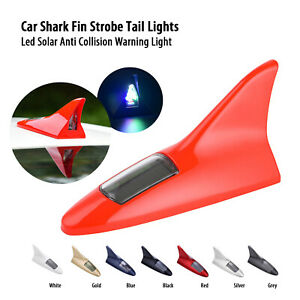 Red Universal Car Shark Fin Top Roof Decorative Dummy Antenna Aerial 8led Light