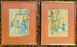 Pair Of 2 Antique Chinese Paintings Or Woodblock Prints Matted And Framed