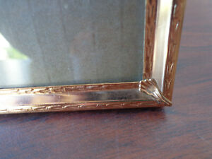 Vtg Gold Metal Picture Frame 5x7 Photo Fancy Corners Victorian Etched Surround