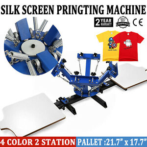 4 Color 2 Station Silk Screen Printing Machine T shirt Press Kit Equipment Diy