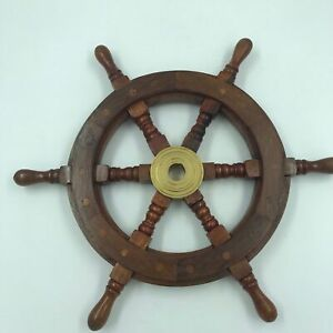 Nautical Wood And Brass Ship Steering Wheel Pirate Wall Decor Fishing Boat