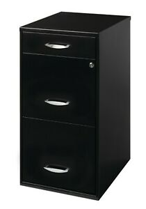 Space Solutions 3 Drawer File Cabinet With Pencil Drawer Black Glide Suspension