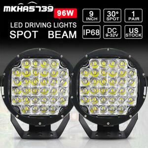 Pair 9 Inch 96w Round Led Work Light Offroad Suv Truck Backup Spot Driving Pods