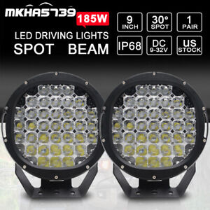 2x 9inch 185w Led Work Light Offroad Driving Spotlight 4x4wd Suv Atv Headlight