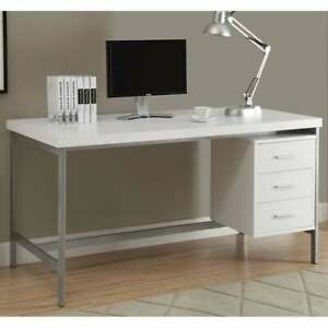 White And Silver Metal 60 inch Office Desk White N a