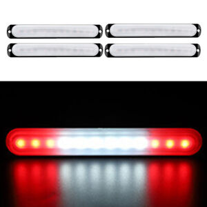 Car Truck 19cm 12led Red White Beacon Warning Hazard Emergency Strobe Light Bar