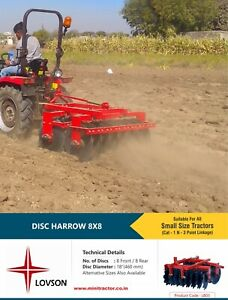 8 8 Discs Harrow Mini Tractor Implement As Hitch Attachment 18 Disc Diameter