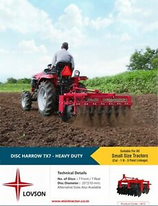 Heavy Duty 7 7 Disc Harrow Mini Tractor Implement 20 Disc Diameter Hitch At